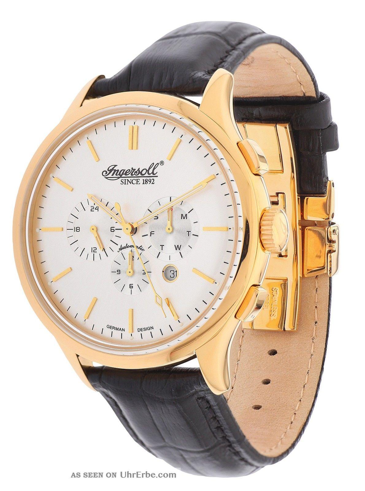 Ingersoll Herren Automatik Uhr Mackinac Schwarz In2815gsl Armbanduhren Bild
