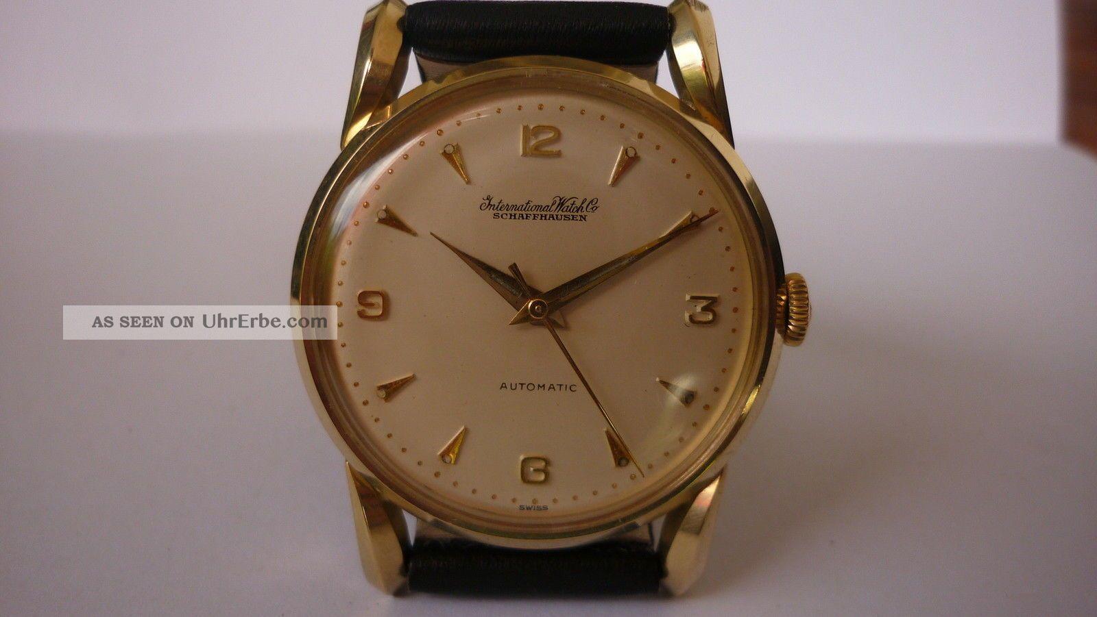 Feine - Iwc - Automatic Herrenuhr 14karat Goldgehäuse Mit Stahlboden Von 1958 Armbanduhren Bild