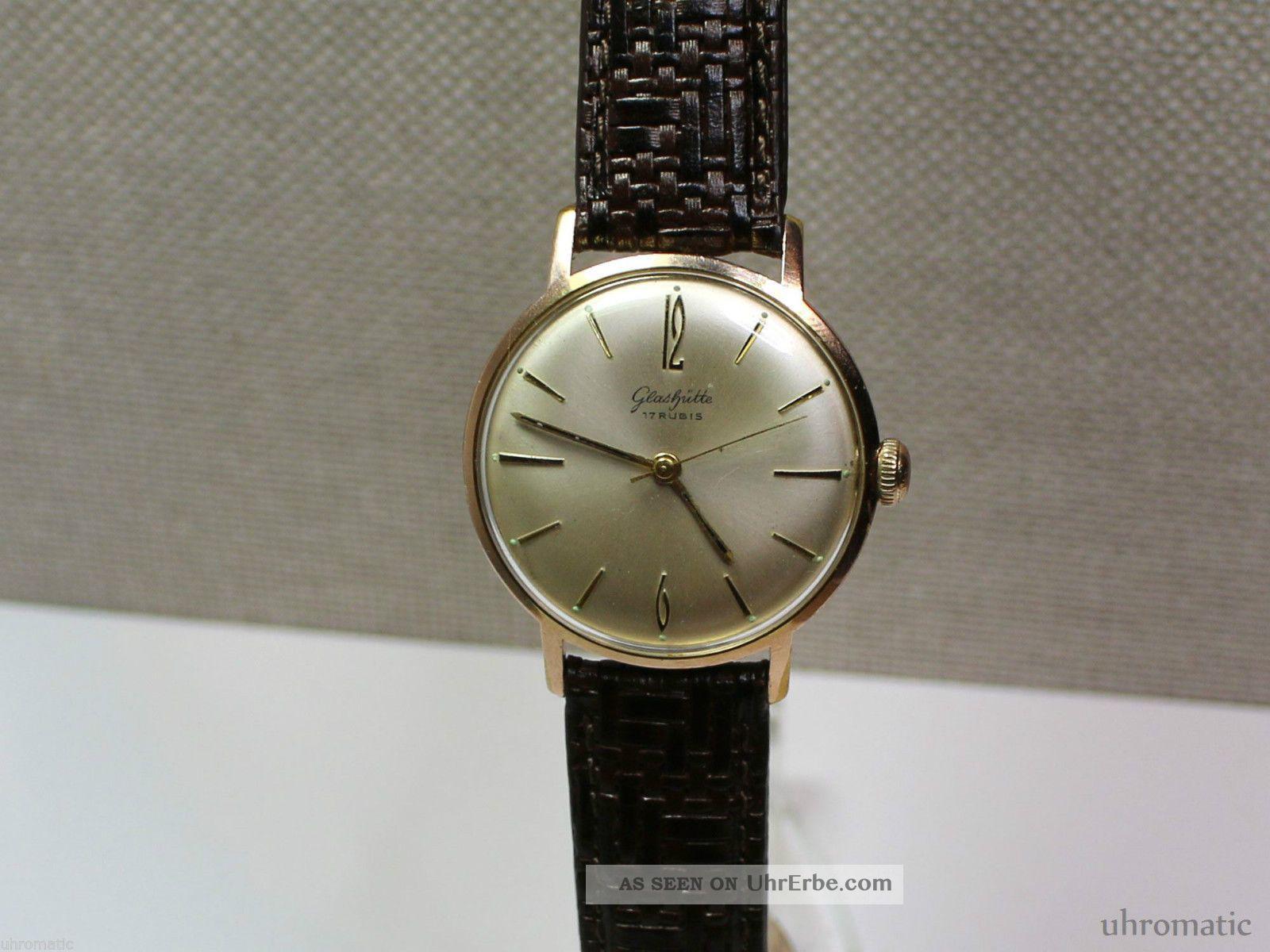 Glashütte Schöne Herrenuhr (men ' S Wrist Watch).  Kaliber Gub 70.  1 Armbanduhren Bild