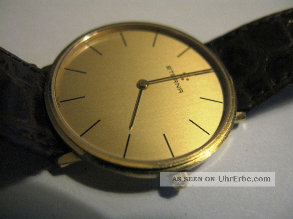 Klassisch - Elegante Herren Armband Uhr Eterna Aus 585 (14 Kt. ) Gold Armbanduhren Bild
