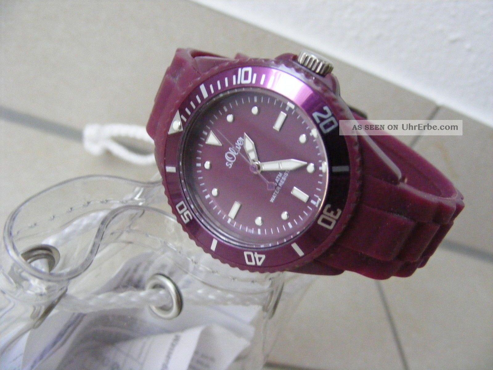 S.  Oliver Armbanduhr - Lila/violett - Mit Silikonarmband - Neuwertig - Damen Armbanduhren Bild
