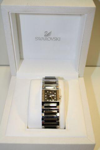 Swarovski Uhr Watch Edelstahl Grau Geschliffen Glitzernde Steine Originalbox Top Bild