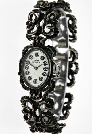 Trachtenarmbanduhr Silber 835 Royce Armbanduhr Damen Tracht Mechanisch - 60ies Bild