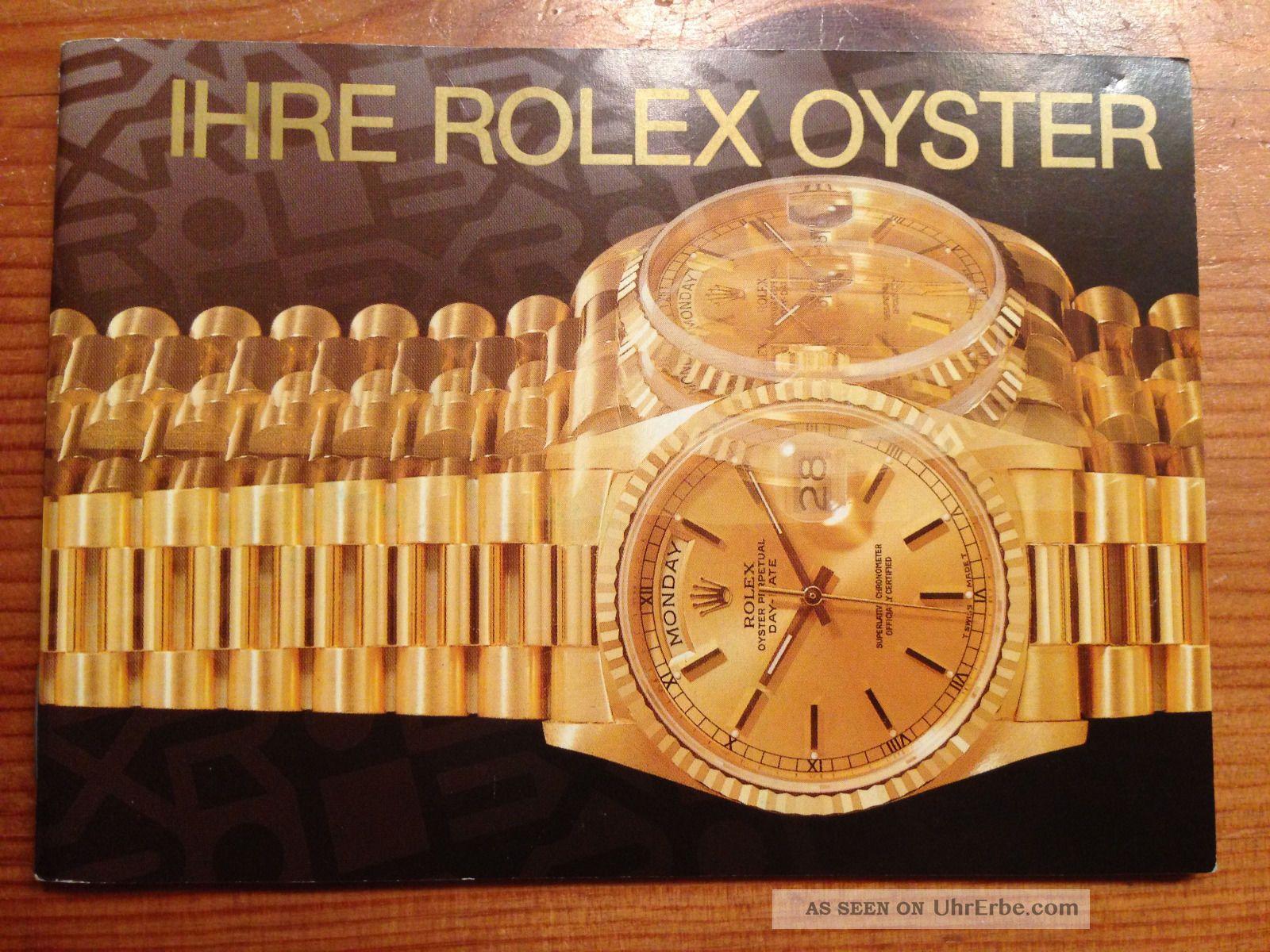 Rolex Oyster Booklet In Deutsch Armbanduhren Bild
