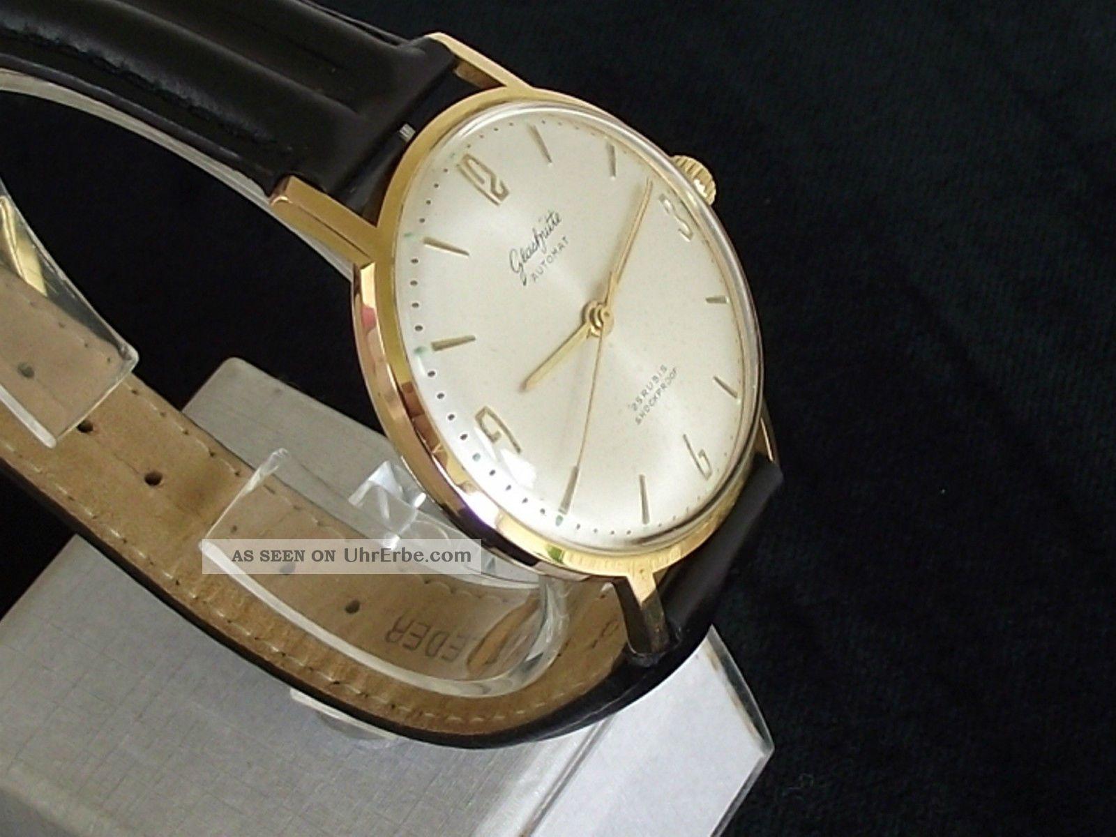 """Große,  Wunderschöne """"sonnenschliff"""" Gub GlashÜtte Automat Herrenuhr Kal.  68.  1 Armbanduhren Bild"""