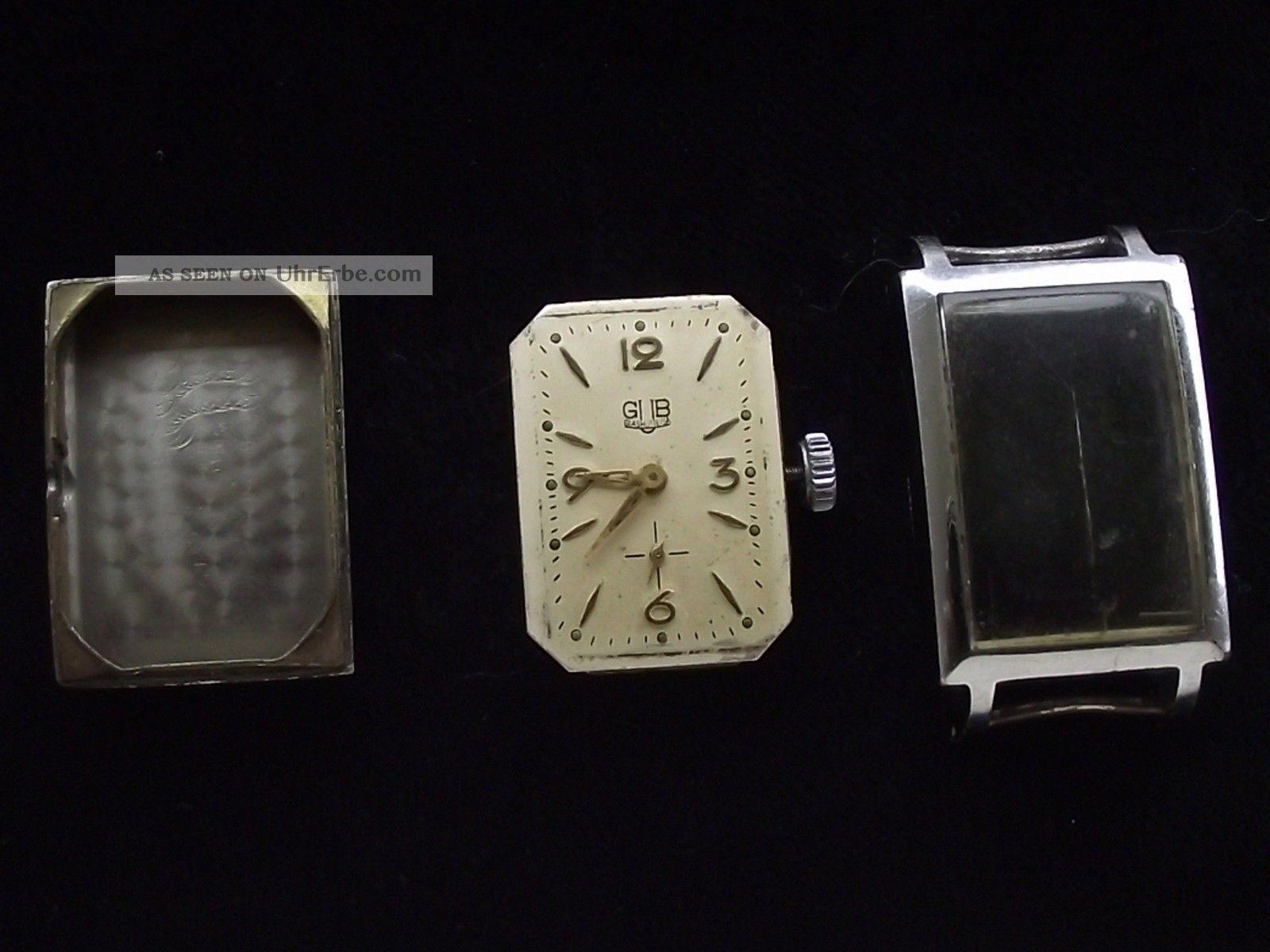 Frühe,  Seltene Artdeco Glashütte Gub Kal.  62.  2 Herrenuhr Armbanduhren Bild