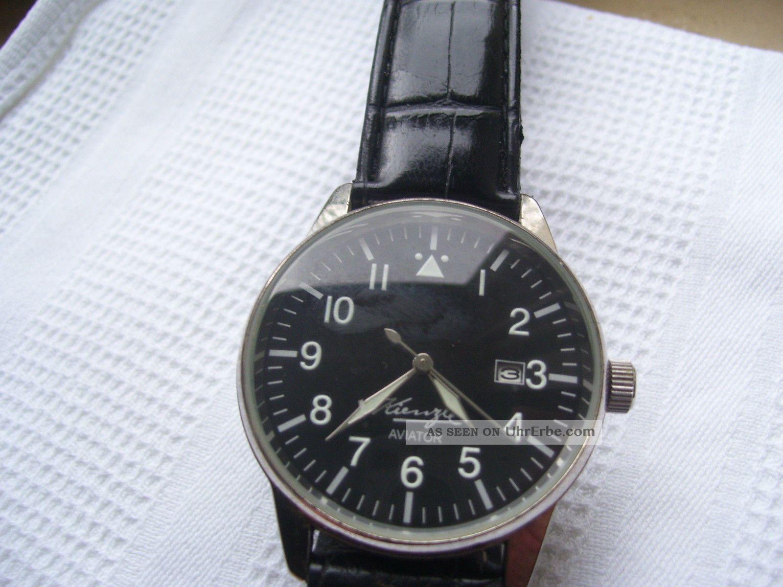 Kienzle Aviator Kal.  030.  31 Durchm.  40 Mm Leuchtpunkte - Leuchtzeiger Armbanduhren Bild