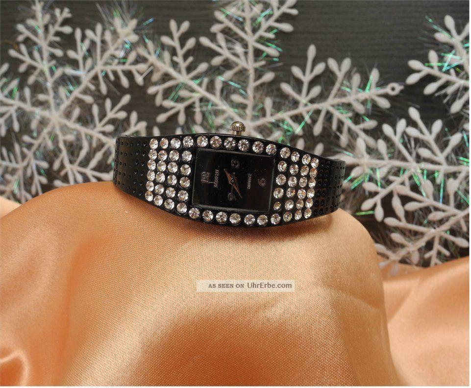 Bezaubernde Damen Spange In Schwarz Mit Steinen Geziert - Geschenkide Armbanduhren Bild