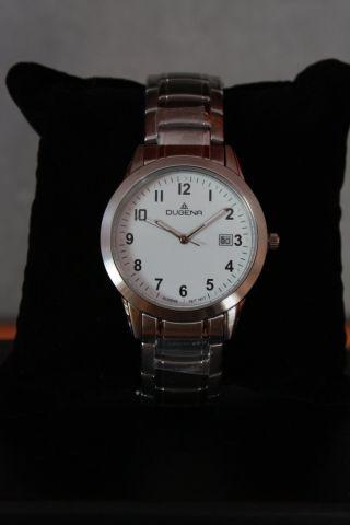 Dugena Herren - Armbanduhr Mit Metallarmband Weiß Mit Faltschließe (2 Drücker) Bild
