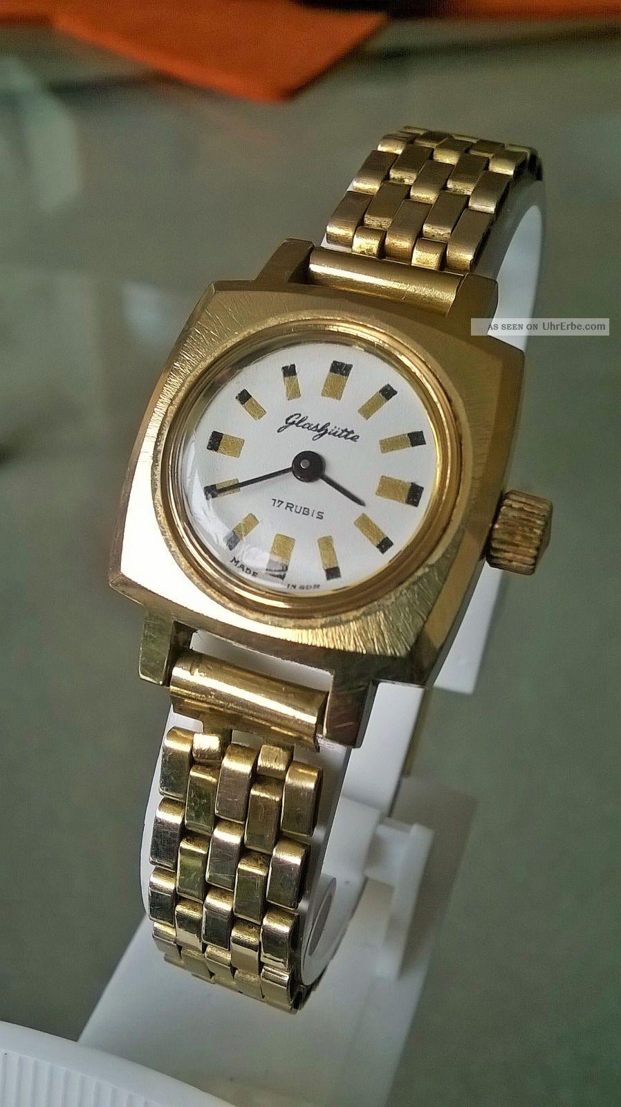 Wunderschöne Vergoldete Glashütte Damenuhr Mit Seltenem Armband Top Armbanduhren Bild