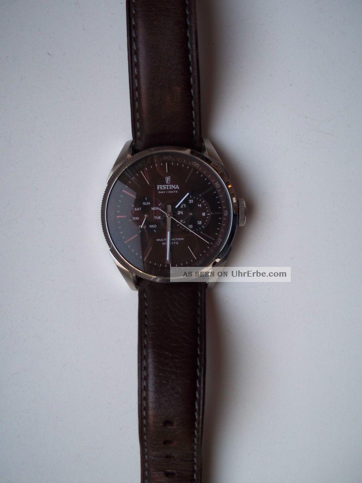 festina herrenuhr f16629 5 armbanduhr lederarmband braun. Black Bedroom Furniture Sets. Home Design Ideas