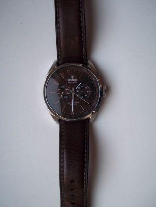 Festina Herrenuhr F16629/5 Armbanduhr Lederarmband Braun Bild