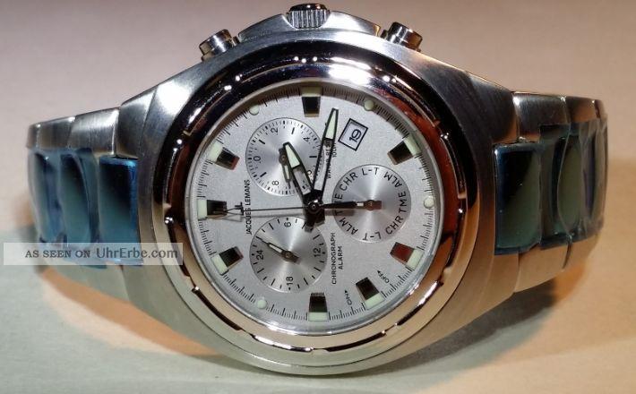 Uhr - Armbanduhr - Jacques Lemans - Chronograph - Edelstahl - Batterie - Alarm Armbanduhren Bild