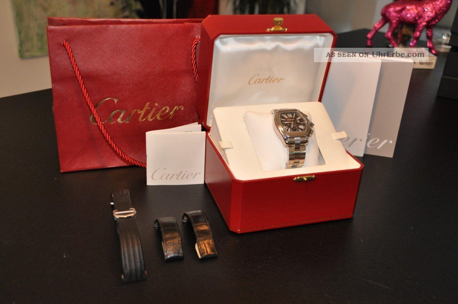 Cartier Roadster Xl Schwarz Wie - Mit 3 Armbändern Armbanduhren Bild