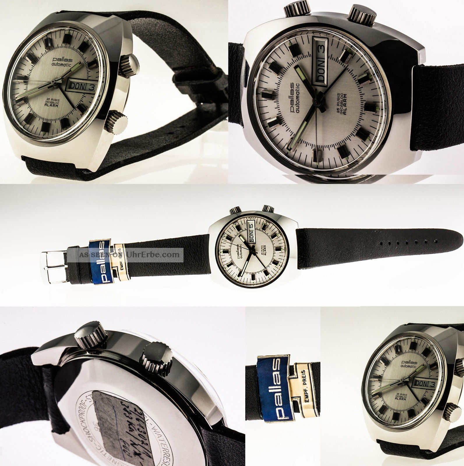 Nos Stowa / Pallas Automatic Alarm Edelstahl As 5008 Daydate 1973 Armbanduhren Bild
