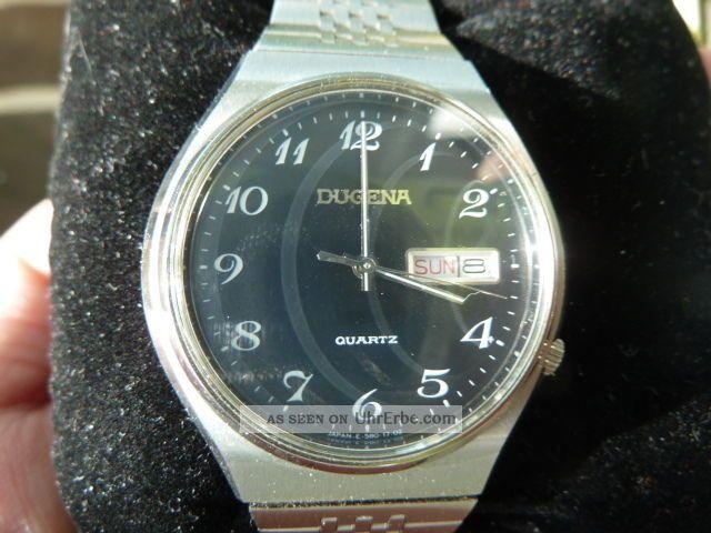 Dugena Herrenarmbanduhr Quartz Edelstahlarmband Top Erhaltung Armbanduhren Bild