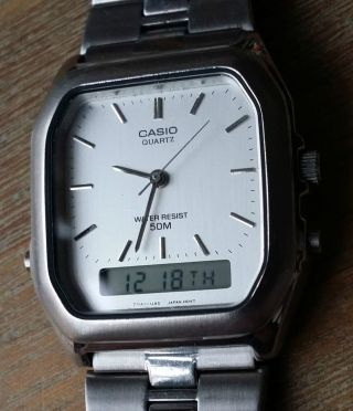 Casio Aq310w (model 740) Ana - Digi,  All Stainless Steel - Made In Japan Bild