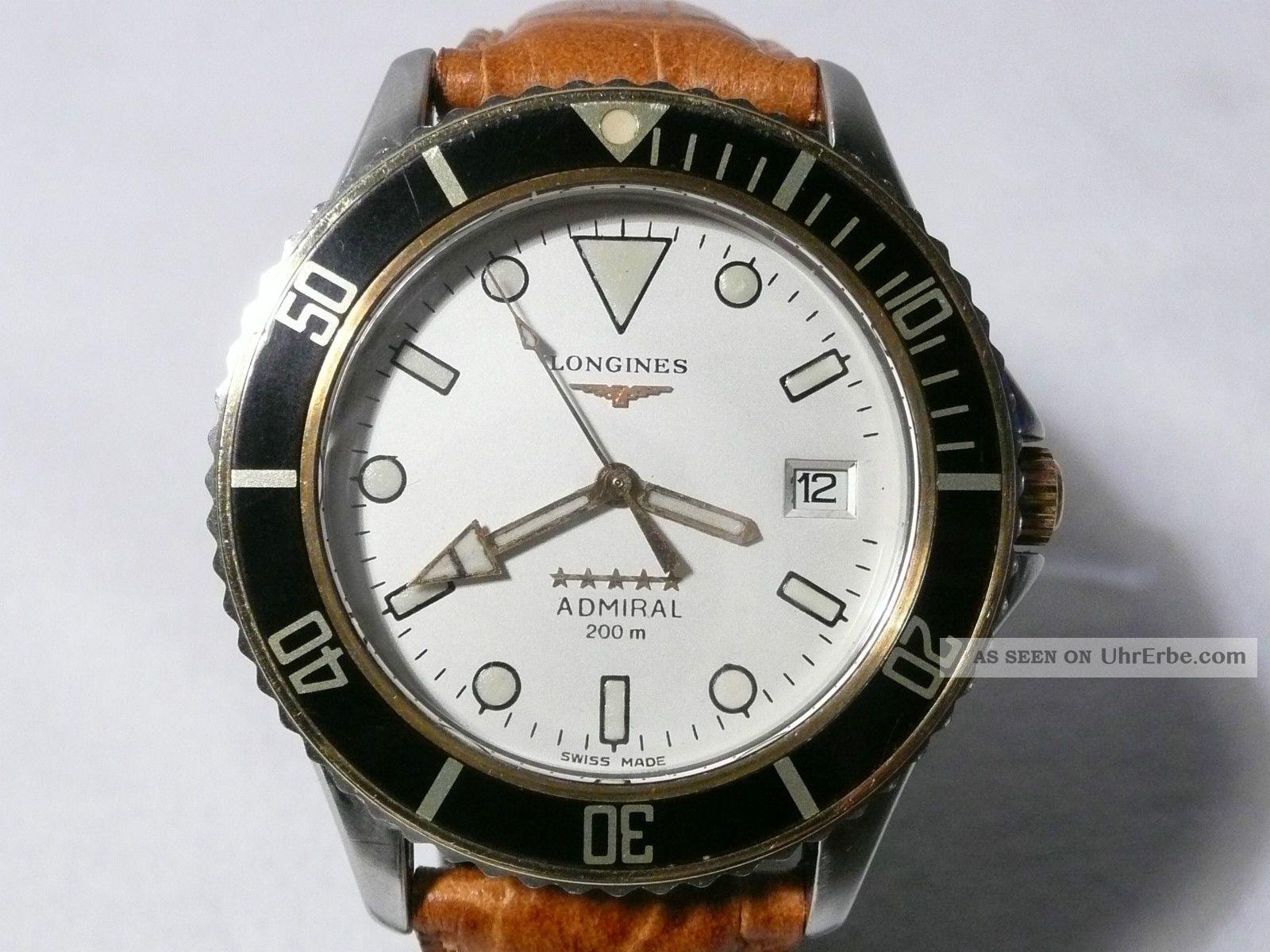 Top Longines Admiral Taucheruhr,  Ref.  L3.  602.  5,  Automatik,  Stahl - Gold,  1970er Jahre Armbanduhren Bild