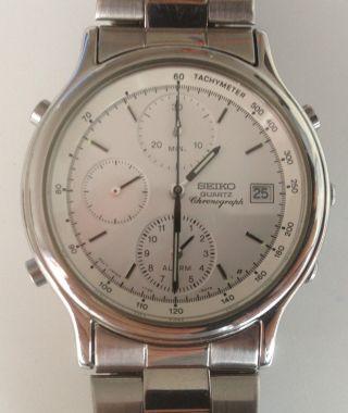 Seiko 7t32 - 6a50 Alarm Chronograph Armbanduhr Uhr Rar Selten 2.  Zeitzone Bild