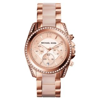 Michael Kors Uhr Mk5943 Blair Damen Chronograph Edelstahl Rosegold Rosa Datum Bild