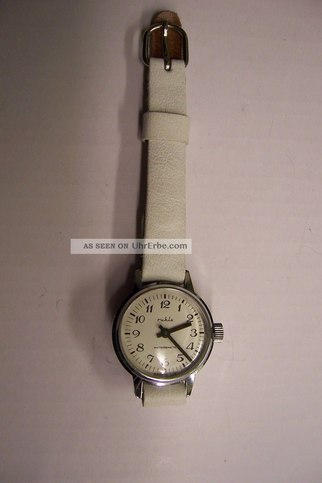 Orig.  Ddr Kinderuhr Mechan.  Ruhla Kinder Armbanduhr Analog M.  Lederarmband Armbanduhren Bild