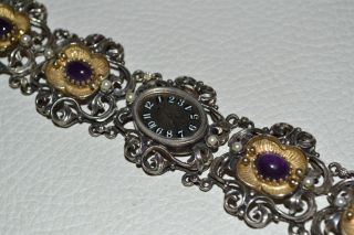 Royce Damen Trachten Armbanduhr Aus 835 Silber Mit Amethyst Damenuhr Uhr Tracht Bild