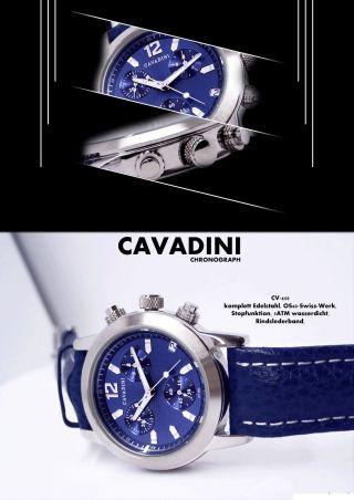 Luxus Chronograph - Cavadini Uhr Unisex RaritÄt Cv - 650 Azurblau Bild