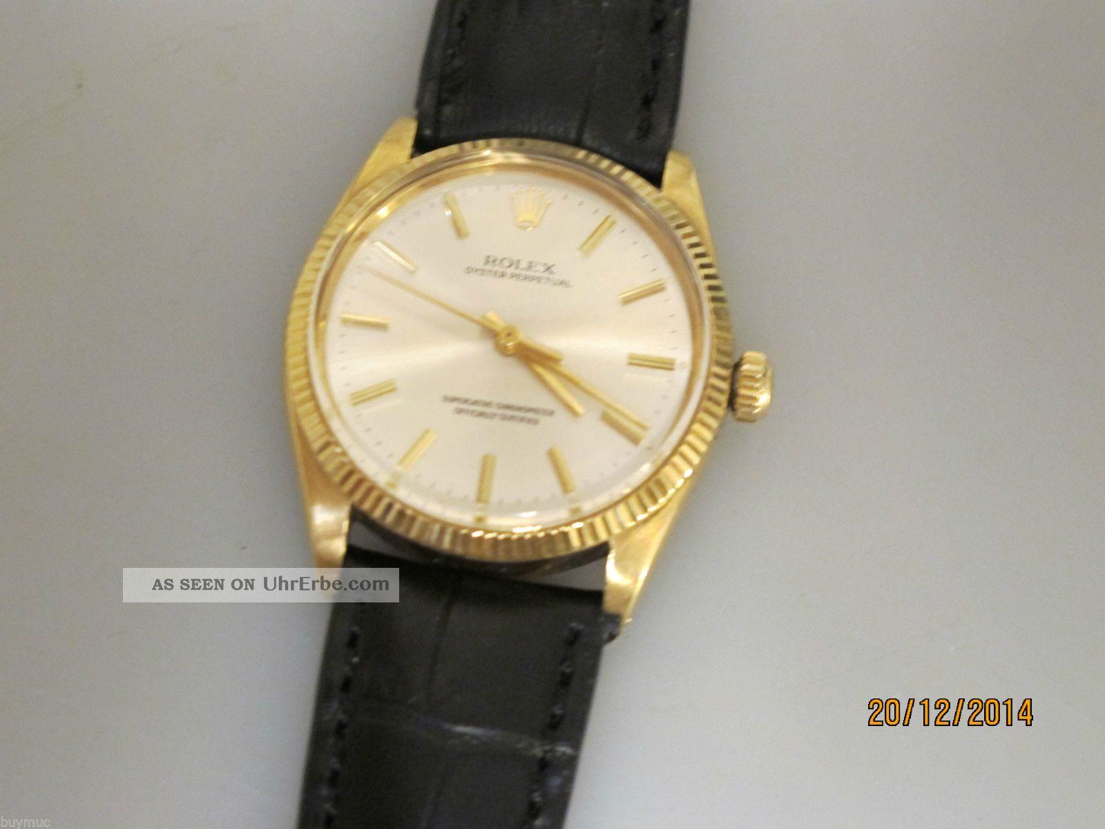 Vintage Rolex Oyster Perpetual Chronometer In 18k Gold 36mm Uhrmachermeister Armbanduhren Bild