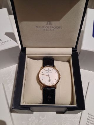 Maurice Lacroix Stahl Vergoldet Herren Armband Uhr Saphir Glas Bild