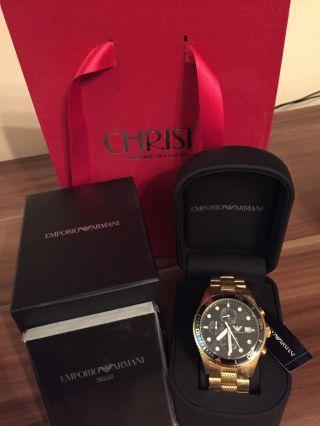 Emporio Armani Ar5857 Luxus Herren Uhr Chronograph Gold - Ovp - Box Bild