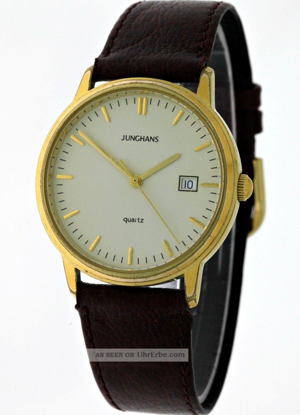 klassisch elegante junghans gold quartz herren armbanduhr. Black Bedroom Furniture Sets. Home Design Ideas