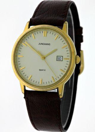 Klassisch Elegante Junghans Gold Quartz Herren Armbanduhr - Dresswatch - 90ies Bild