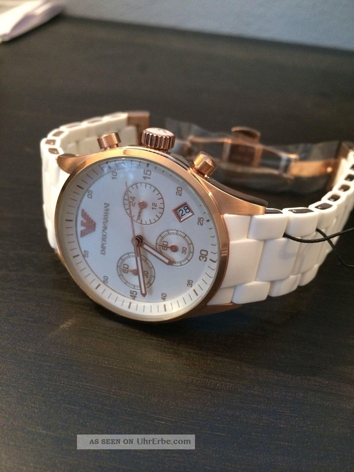 Emporio Armani Ar5920 Damenuhr Chronograph Mode Silikon/metall Armband Armbanduhren Bild
