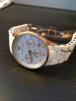 Emporio Armani Ar5920 Damenuhr Chronograph Mode Silikon/metall Armband Bild