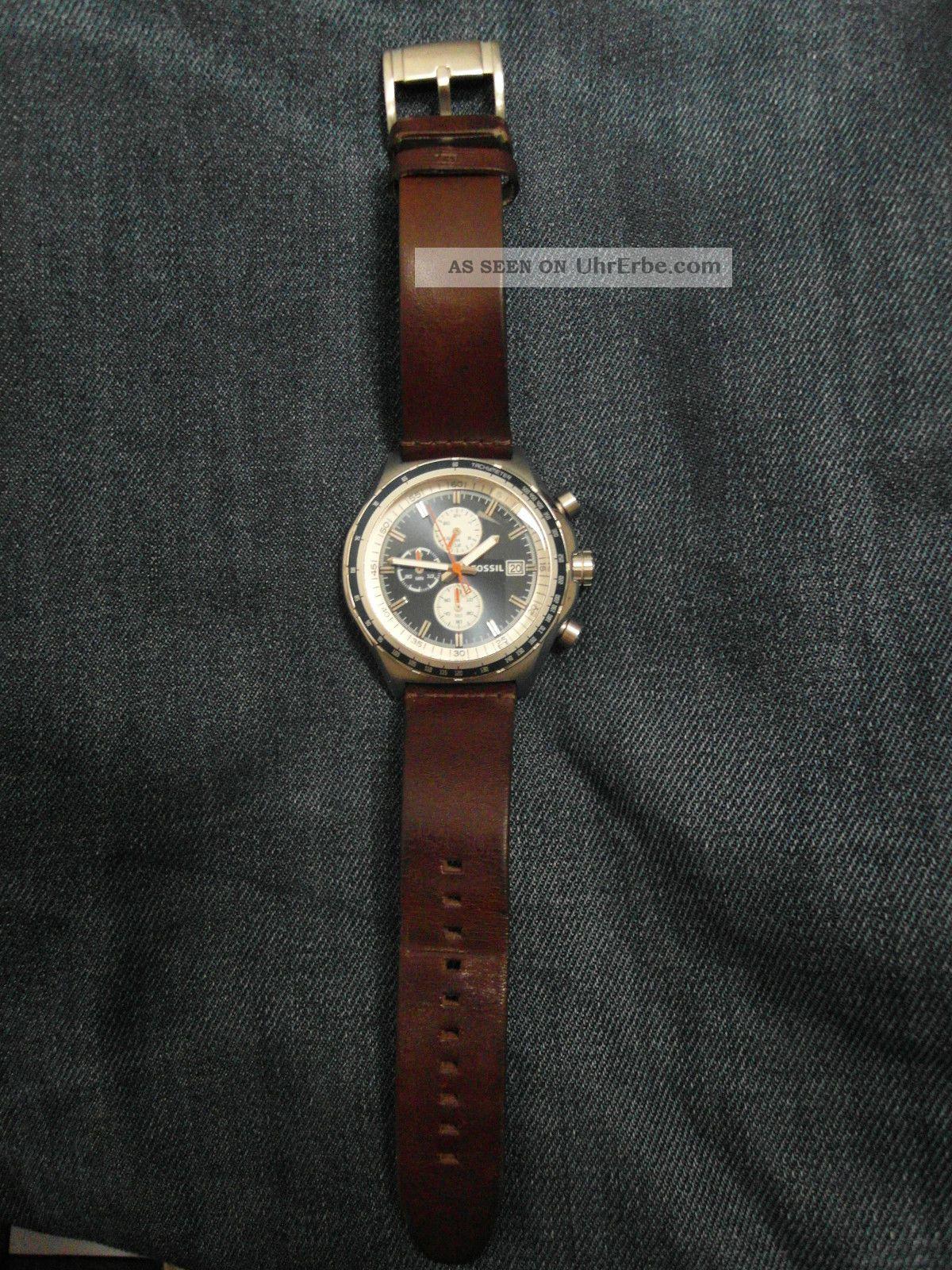 fossil herren armbanduhr ch2812 lederarmband braun blau. Black Bedroom Furniture Sets. Home Design Ideas