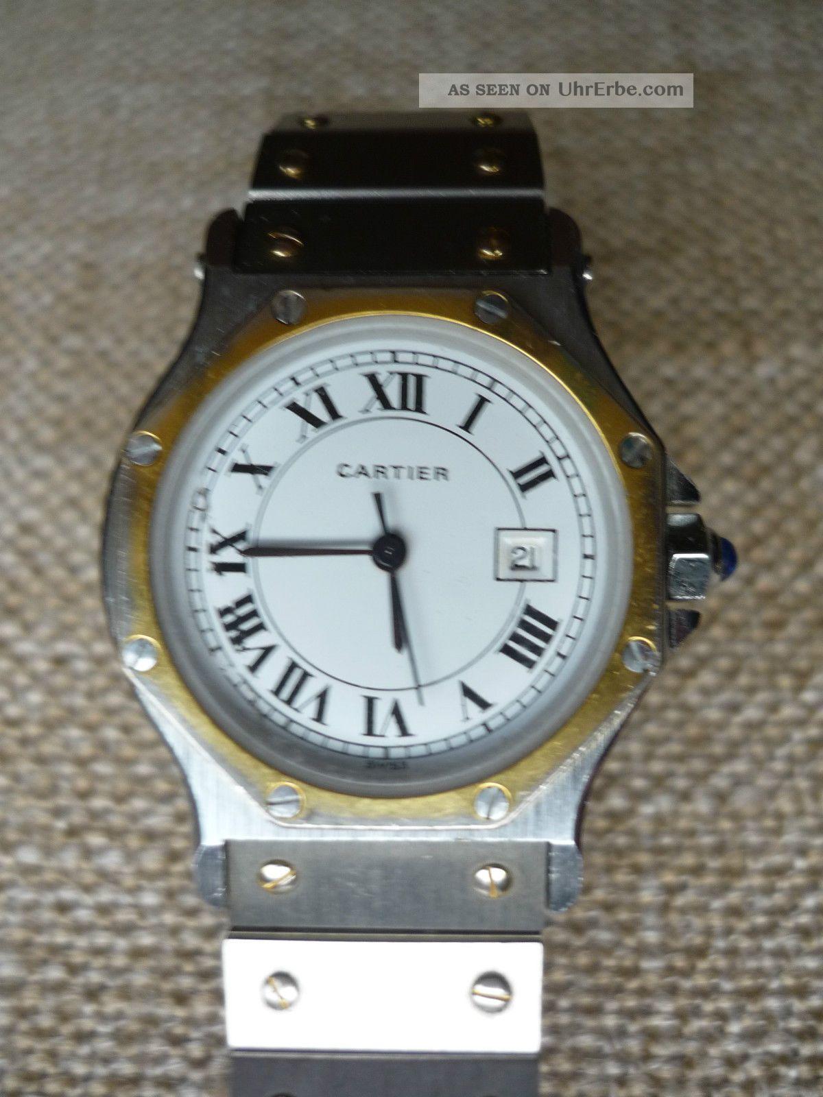 Cartier Damenuhr Santos,  Frühes Modell,  Automatique,  Edelstahl/gold Armbanduhren Bild