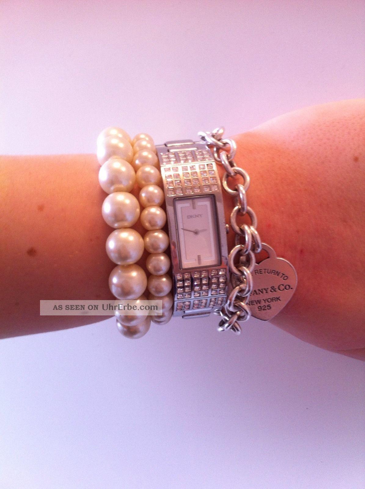 Dkny Uhr Damenuhr Steinchen Swarovski Silber Stanless Steel Armbanduhren Bild