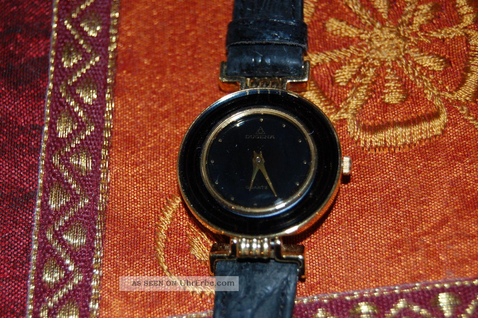 Alte Dugena Armbanduhr Damenuhr Lederarmband Wunderschön Kaum Getragen Armbanduhren Bild