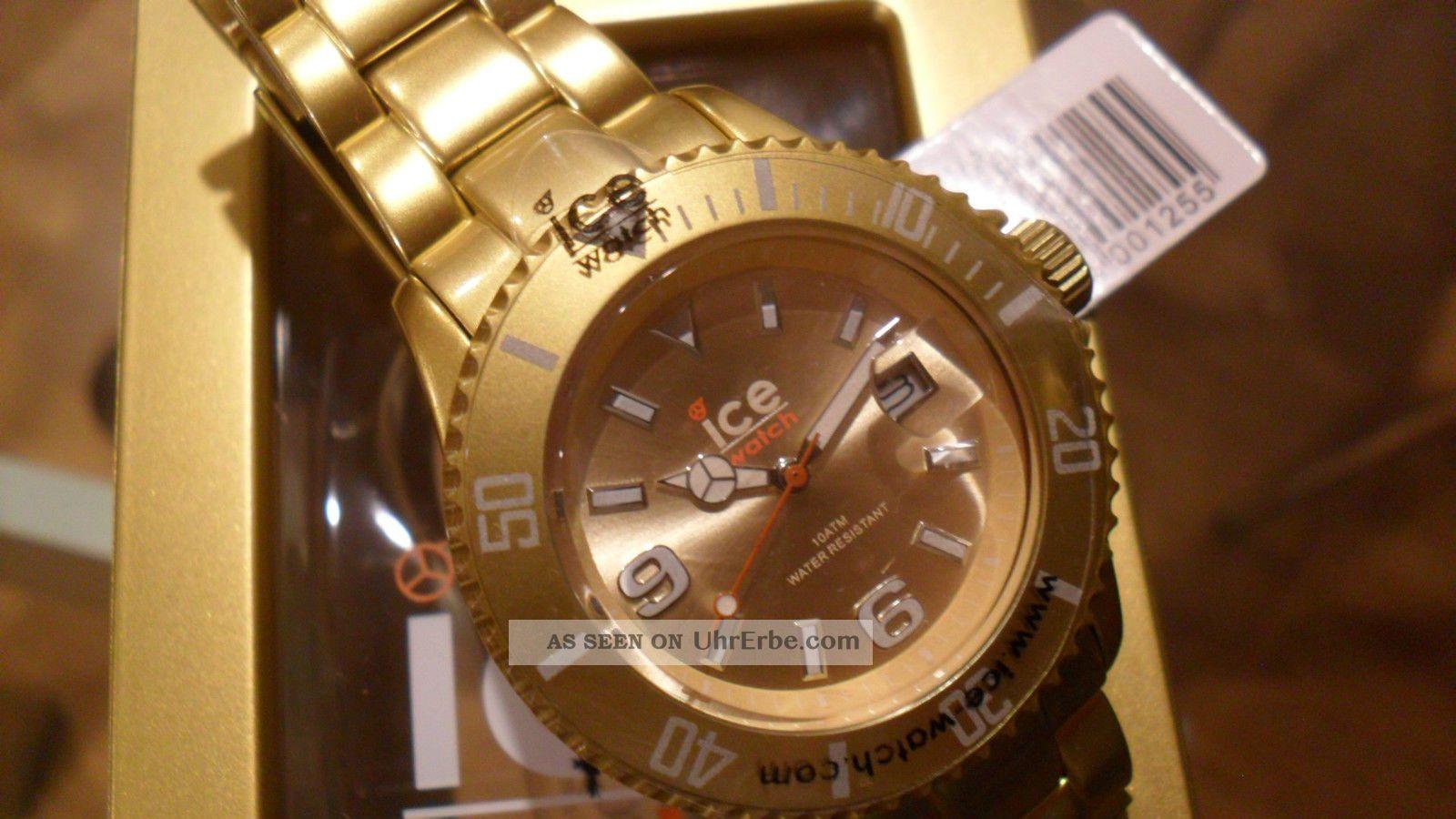 Ice Watch Unisex Armband Uhr Aluminium Analog Quarz Uhr Farbe Gold In Ovp Armbanduhren Bild