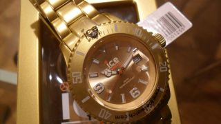 Ice Watch Unisex Armband Uhr Aluminium Analog Quarz Uhr Farbe Gold In Ovp Bild