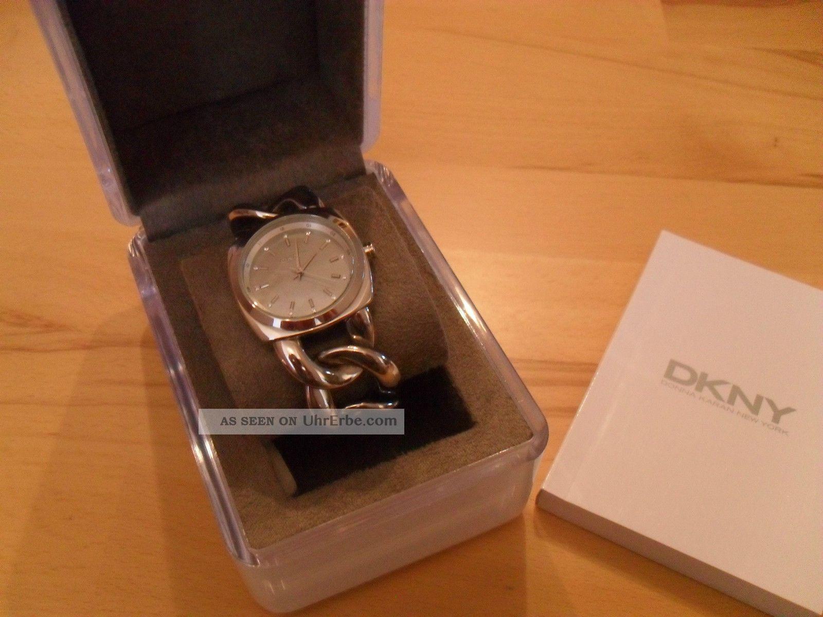 Edle Uhr Von Dkny; Es4840,  Glieder - Optik,  Perlmutt,  Edelstahl,  Np 119€,  Neuw. Armbanduhren Bild