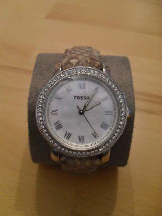 Edle Uhr Von Fossil,  Modell Emma Es3116,  Leder,  Strass,  Np 129€,  Neuw. Bild