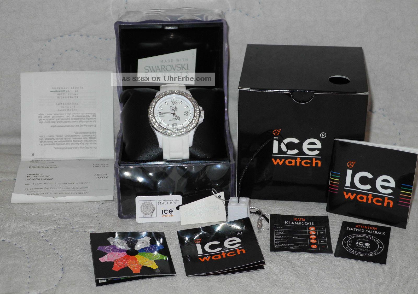 Ice Watch Damenuhr Weiß Mit Swarowski Steinen St.  Ws.  U.  S.  09 Unisex Stone Sili Armbanduhren Bild