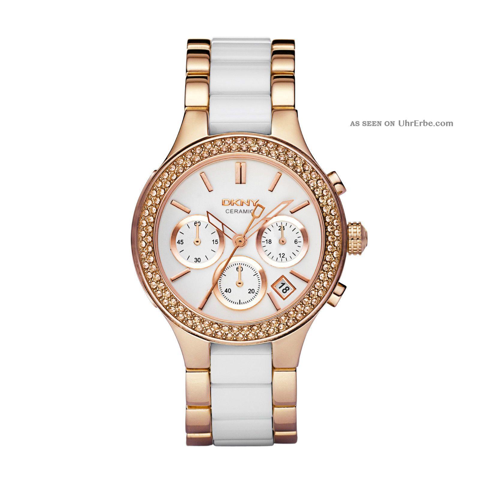 Dkny Uhr Ny8183 Chambers Damen Chronograph Edelstahl Rosegold Keramik Armbanduhr Armbanduhren Bild