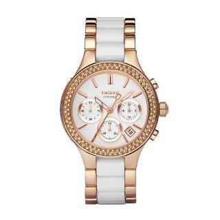 Dkny Uhr Ny8183 Chambers Damen Chronograph Edelstahl Rosegold Keramik Armbanduhr Bild