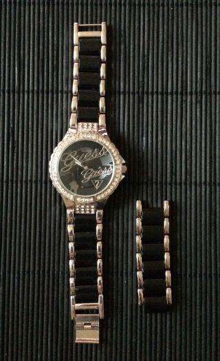 Damen Armbanduhr Schwarz Silber Bild