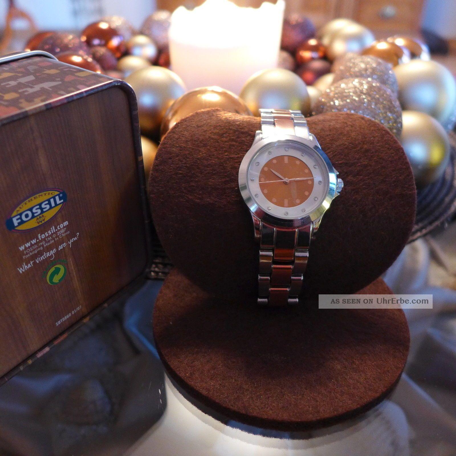 Damenuhr Silber Und Rosegold Farben In Fossil Box Armbanduhren Bild