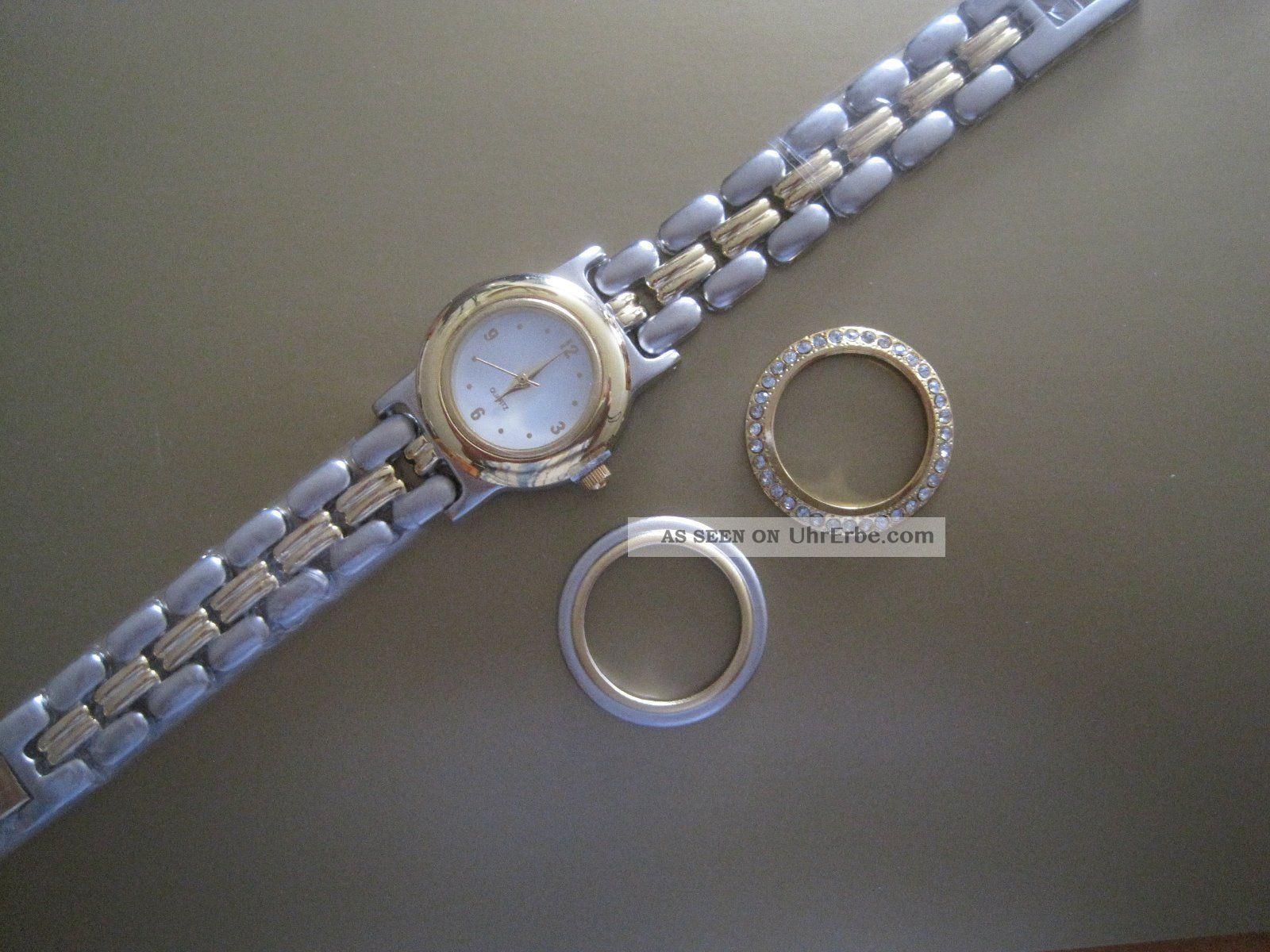 Schicke Da.  - Quarzuhr,  Metall,  3 In 1,  Gliederarmband 19cm, Armbanduhren Bild