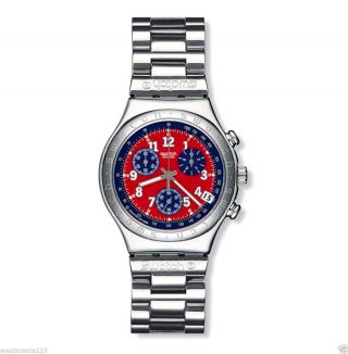 Swatch Irony Chrono Uhr Secret Agent Red Ycs 405g:neue Batt. ,  Np 155€,  Ovp,  Top&rar Bild