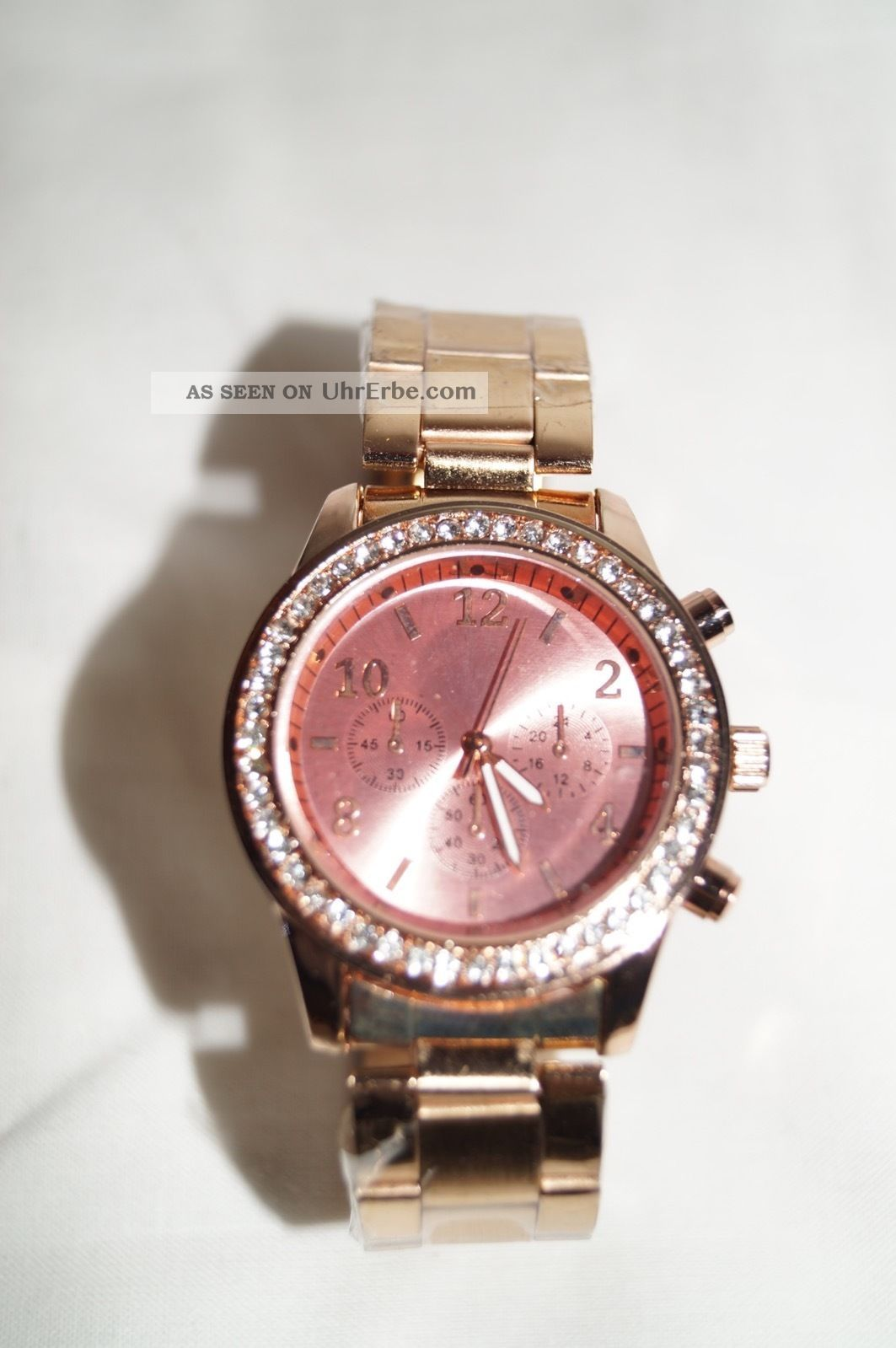 Damenuhr Armbanduhr Uhr Edelstahl Strass Rotgold Rose Rosegold Vergoldet Blogger Armbanduhren Bild